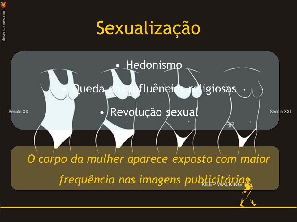 Sexualização Hedonismo Queda das influências religiosas Revolução sexual O corpo da mulher aparece exposto com maior frequência nas imagens publicitárias