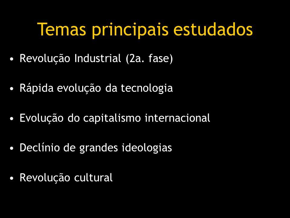 Revolução Industrial (2a. fase) Rápida evolução da tecnologia Evolução do capitalismo internacional Declínio de grandes ideologias Revolução cultural