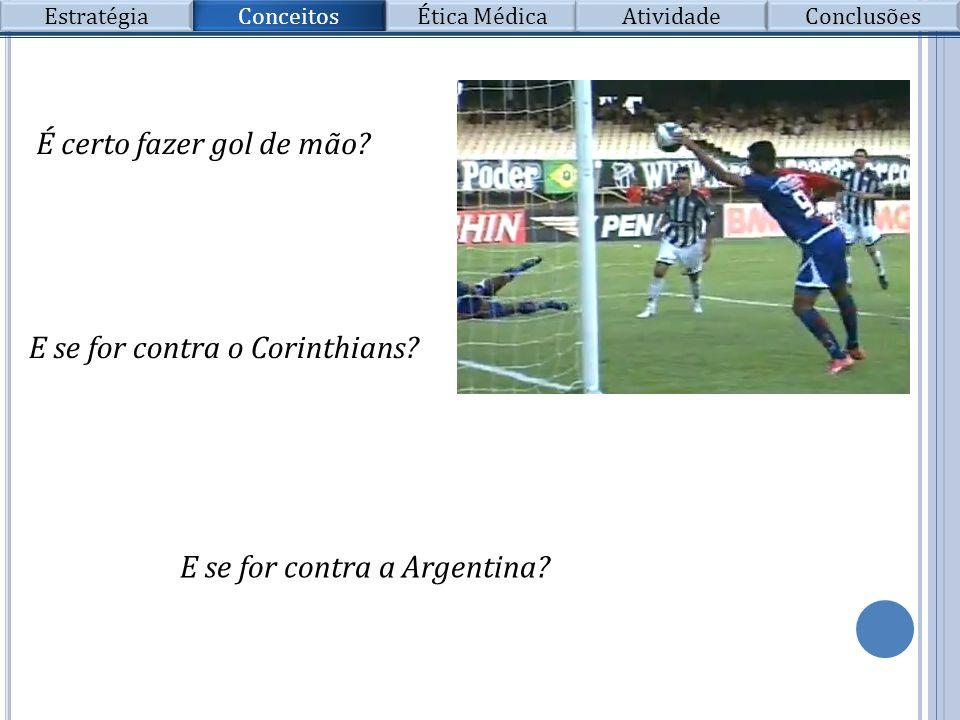 Conceitos Estratégia Ética Médica Atividade Conclusões É certo fazer gol de mão? E se for contra o Corinthians? E se for contra a Argentina?