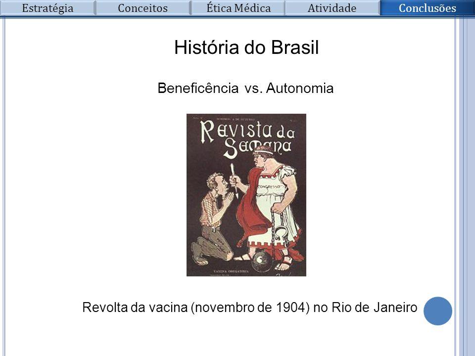 Beneficência vs. Autonomia História do Brasil Revolta da vacina (novembro de 1904) no Rio de Janeiro Conclusões Conceitos Ética Médica Atividade Estra
