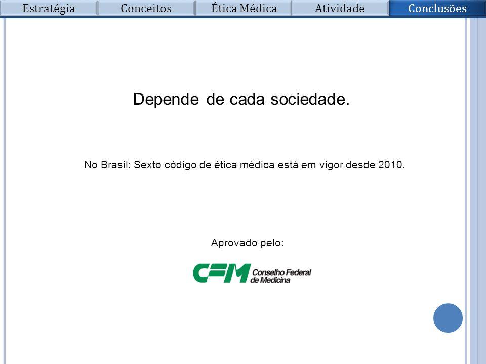 Depende de cada sociedade. No Brasil: Sexto código de ética médica está em vigor desde 2010. Aprovado pelo: Conclusões Conceitos Ética Médica Atividad