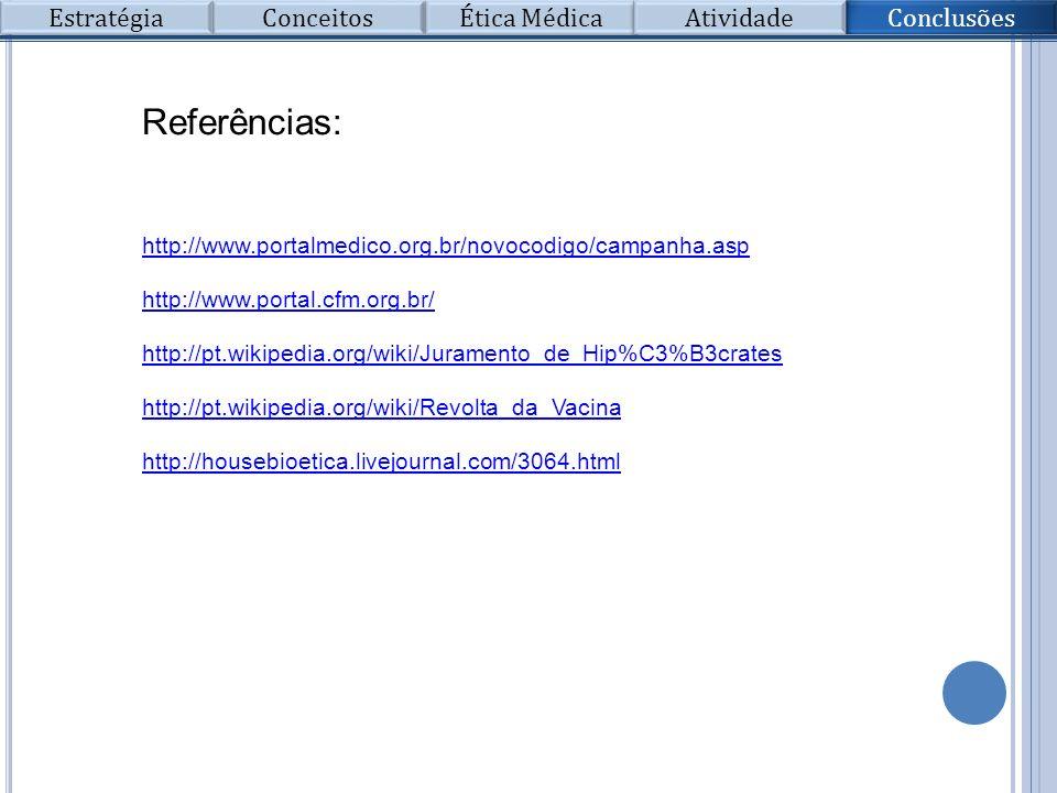 Referências: http://www.portalmedico.org.br/novocodigo/campanha.asp http://www.portal.cfm.org.br/ http://pt.wikipedia.org/wiki/Juramento_de_Hip%C3%B3c