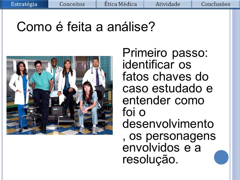 Como é feita a análise? Primeiro passo: identificar os fatos chaves do caso estudado e entender como foi o desenvolvimento, os personagens envolvidos