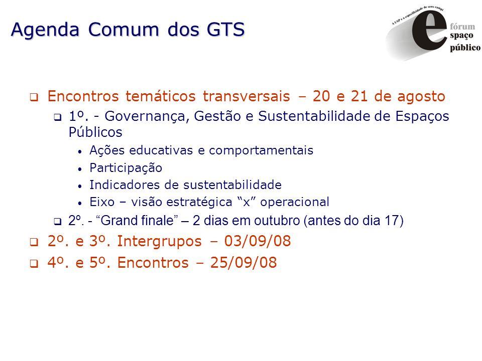 Agenda Comum dos GTS Encontros temáticos transversais – 20 e 21 de agosto 1º. - Governança, Gestão e Sustentabilidade de Espaços Públicos Ações educat