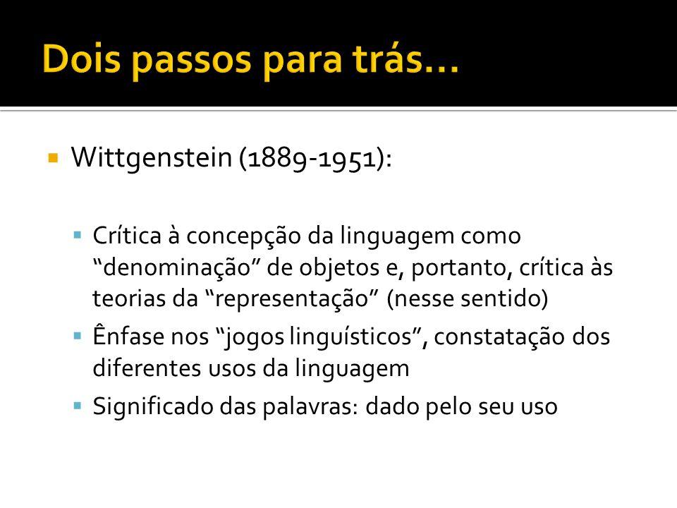 Wittgenstein (1889-1951): Crítica à concepção da linguagem como denominação de objetos e, portanto, crítica às teorias da representação (nesse sentido