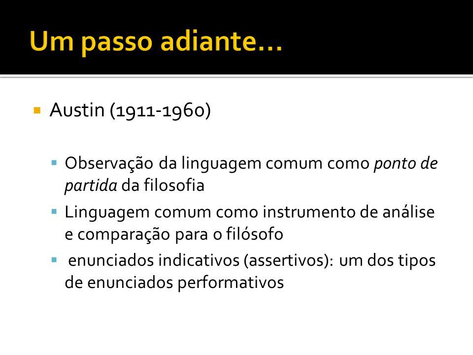 Austin (1911-1960) Observação da linguagem comum como ponto de partida da filosofia Linguagem comum como instrumento de análise e comparação para o fi