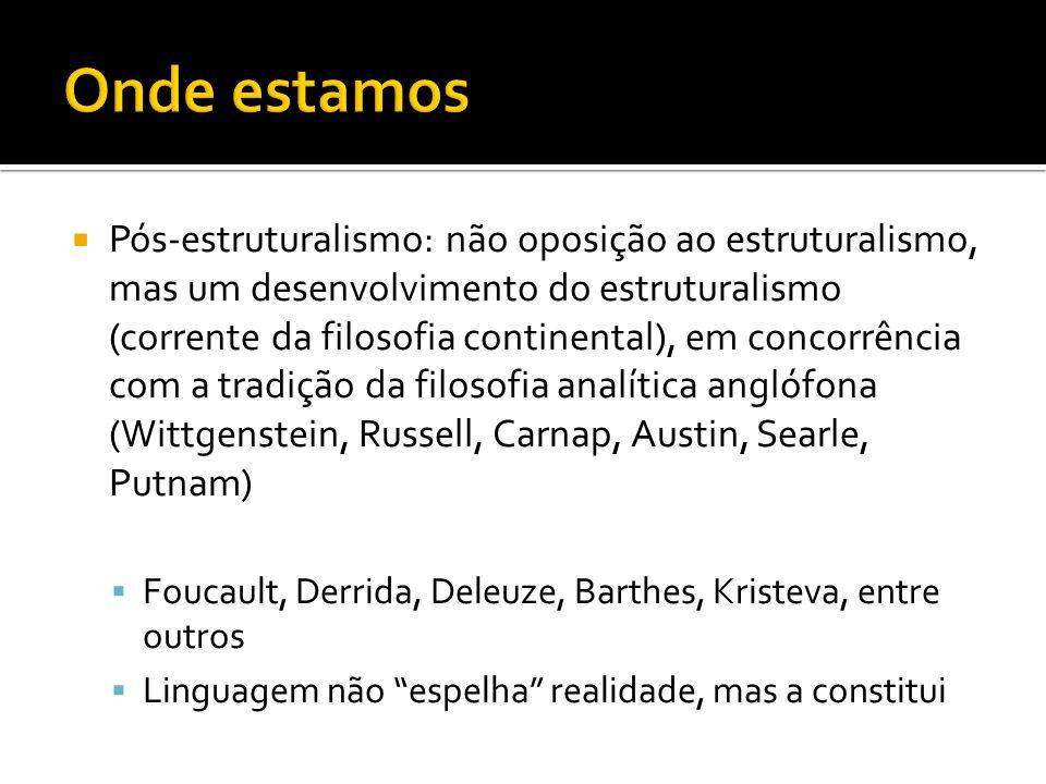 Pós-estruturalismo: não oposição ao estruturalismo, mas um desenvolvimento do estruturalismo (corrente da filosofia continental), em concorrência com