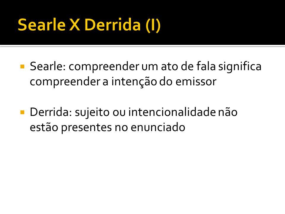 Searle: compreender um ato de fala significa compreender a intenção do emissor Derrida: sujeito ou intencionalidade não estão presentes no enunciado