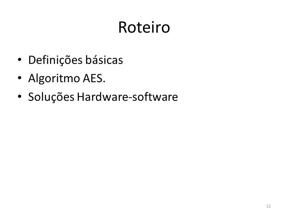 12 Roteiro Definições básicas Algoritmo AES. Soluções Hardware-software
