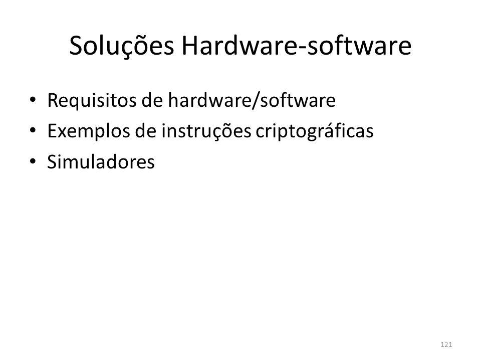 121 Soluções Hardware-software Requisitos de hardware/software Exemplos de instruções criptográficas Simuladores