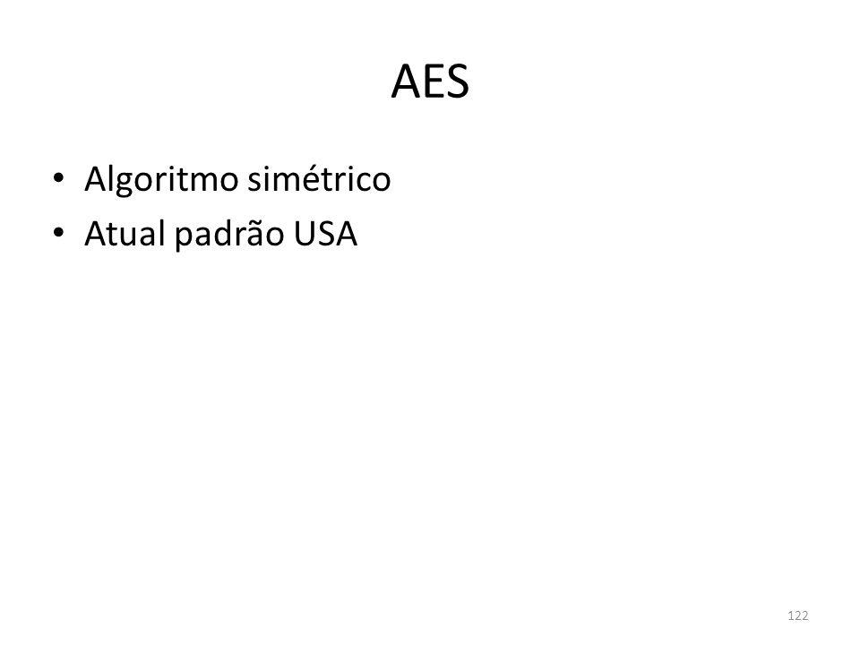122 AES Algoritmo simétrico Atual padrão USA