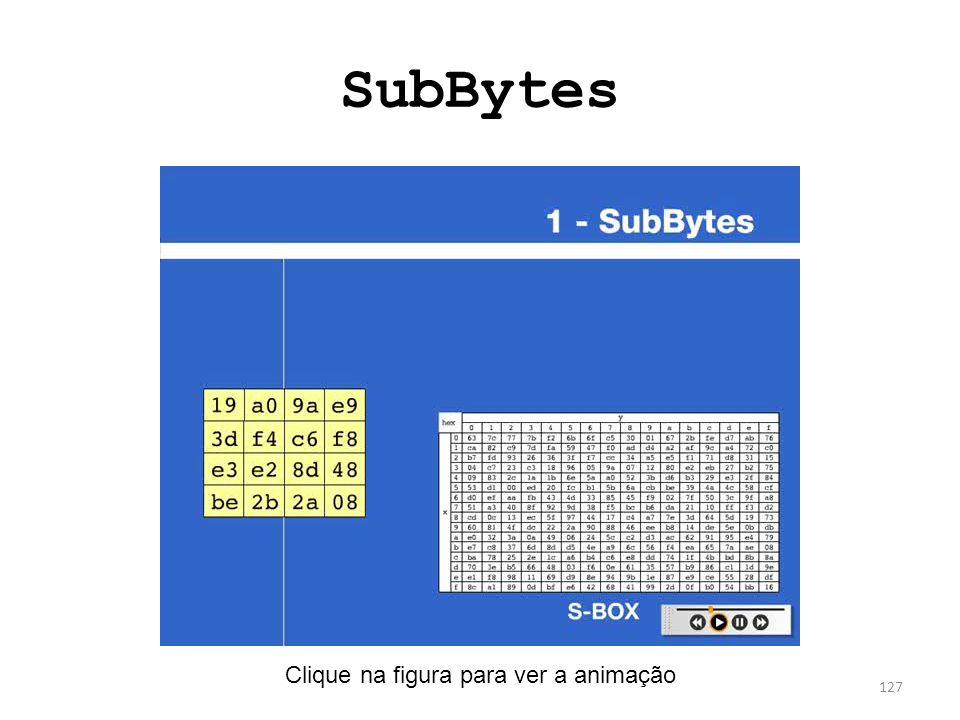 SubBytes 127 Clique na figura para ver a animação