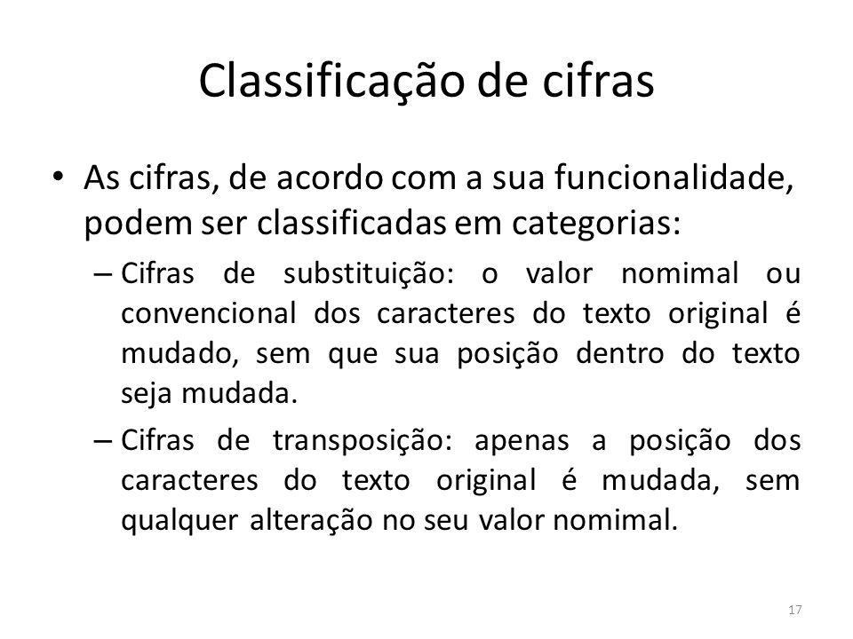 17 Classificação de cifras As cifras, de acordo com a sua funcionalidade, podem ser classificadas em categorias: – Cifras de substituição: o valor nom
