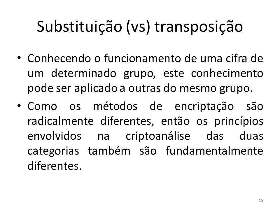 18 Substituição (vs) transposição Conhecendo o funcionamento de uma cifra de um determinado grupo, este conhecimento pode ser aplicado a outras do mes