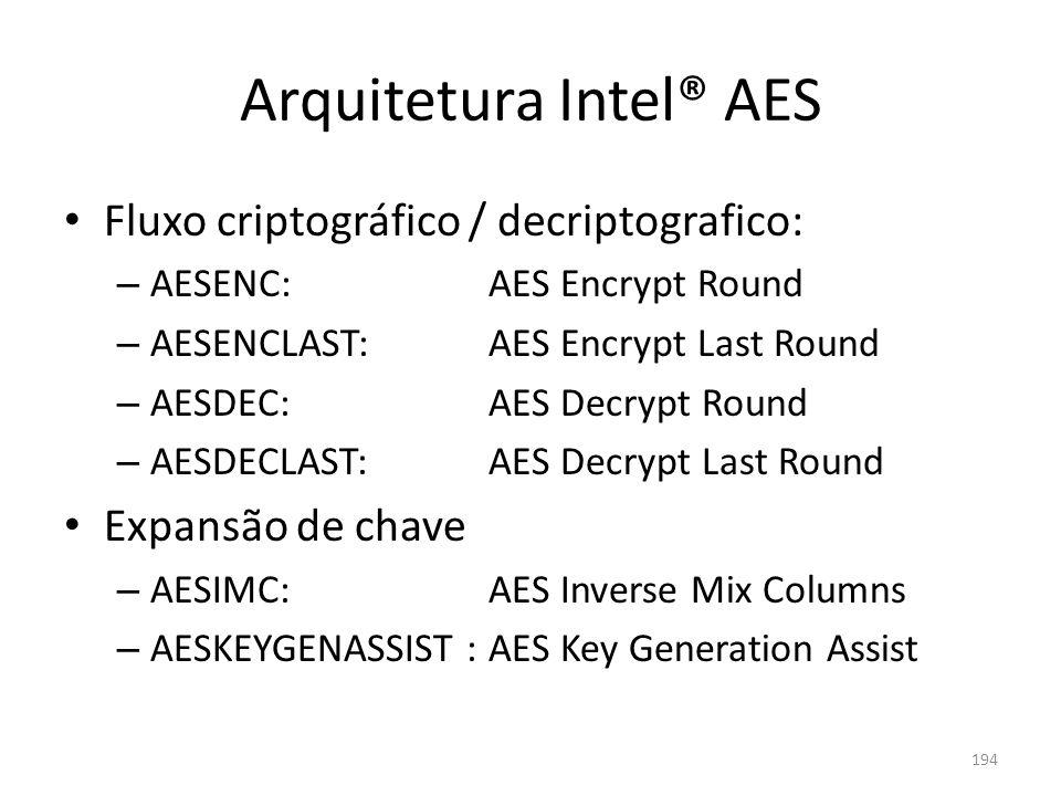 Arquitetura Intel® AES Fluxo criptográfico / decriptografico: – AESENC:AES Encrypt Round – AESENCLAST:AES Encrypt Last Round – AESDEC:AES Decrypt Roun