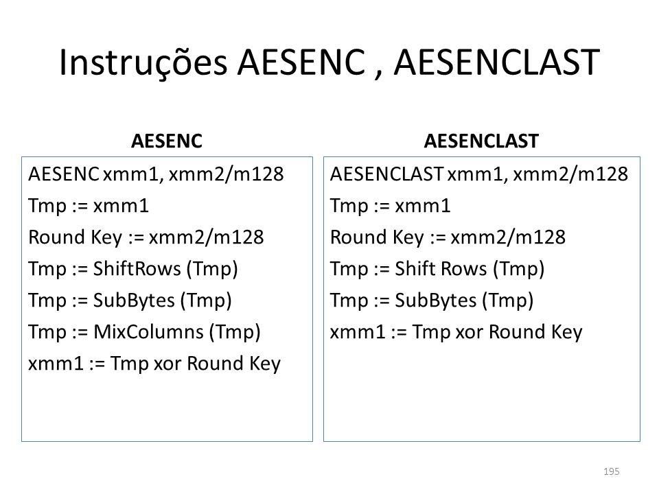 Instruções AESENC, AESENCLAST AESENC AESENC xmm1, xmm2/m128 Tmp := xmm1 Round Key := xmm2/m128 Tmp := ShiftRows (Tmp) Tmp := SubBytes (Tmp) Tmp := Mix