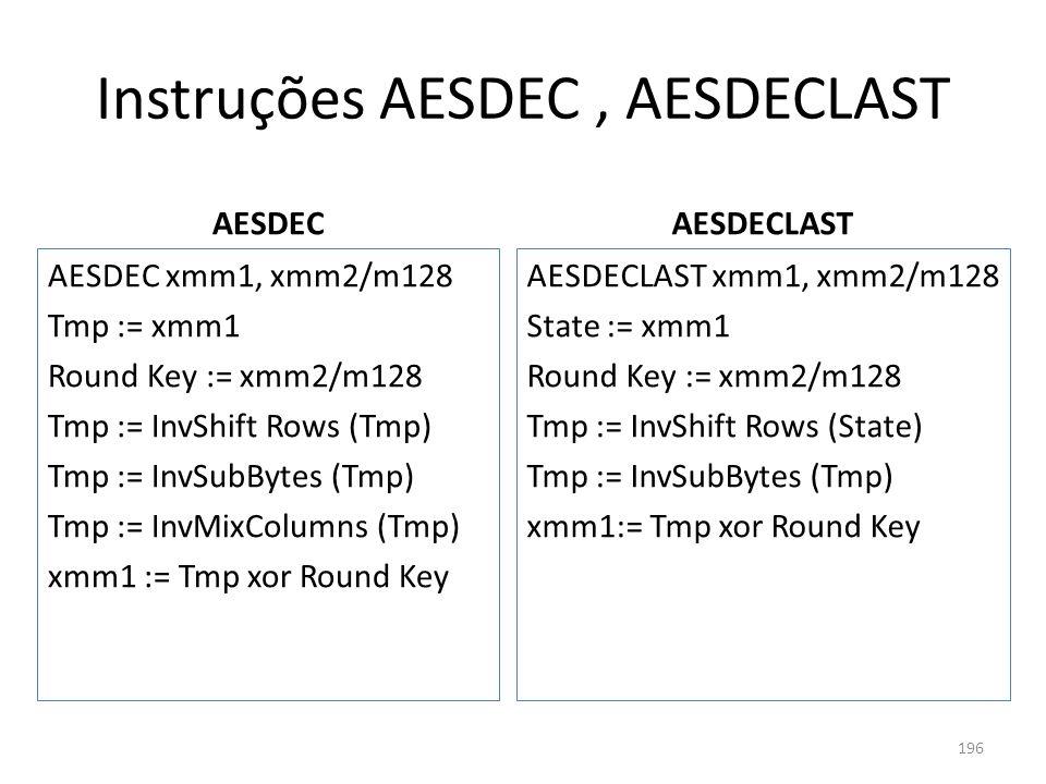 Instruções AESDEC, AESDECLAST AESDEC AESDEC xmm1, xmm2/m128 Tmp := xmm1 Round Key := xmm2/m128 Tmp := InvShift Rows (Tmp) Tmp := InvSubBytes (Tmp) Tmp
