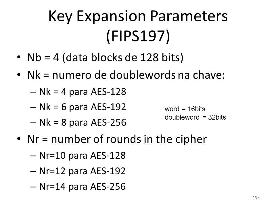 Key Expansion Parameters (FIPS197) Nb = 4 (data blocks de 128 bits) Nk = numero de doublewords na chave: – Nk = 4 para AES-128 – Nk = 6 para AES-192 –