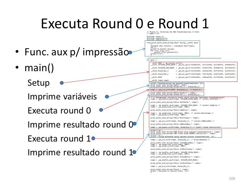 Executa Round 0 e Round 1 206 Func. aux p/ impressão main() Setup Imprime variáveis Executa round 0 Imprime resultado round 0 Executa round 1 Imprime