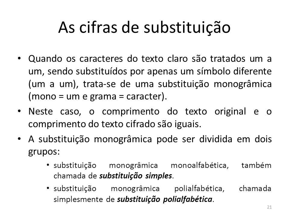 21 As cifras de substituição Quando os caracteres do texto claro são tratados um a um, sendo substituídos por apenas um símbolo diferente (um a um), t