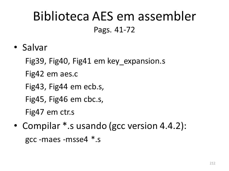 Biblioteca AES em assembler Pags. 41-72 Salvar Fig39, Fig40, Fig41 em key_expansion.s Fig42 em aes.c Fig43, Fig44 em ecb.s, Fig45, Fig46 em cbc.s, Fig