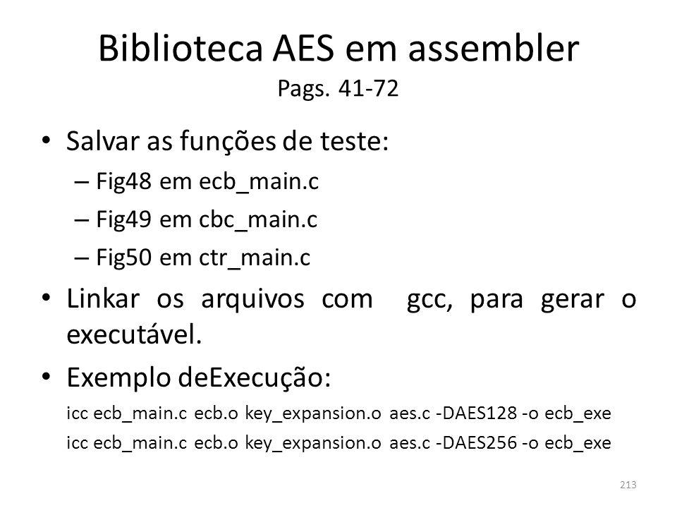Biblioteca AES em assembler Pags. 41-72 Salvar as funções de teste: – Fig48 em ecb_main.c – Fig49 em cbc_main.c – Fig50 em ctr_main.c Linkar os arquiv