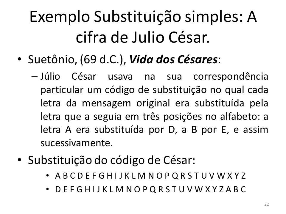 22 Exemplo Substituição simples: A cifra de Julio César. Suetônio, (69 d.C.), Vida dos Césares: – Júlio César usava na sua correspondência particular