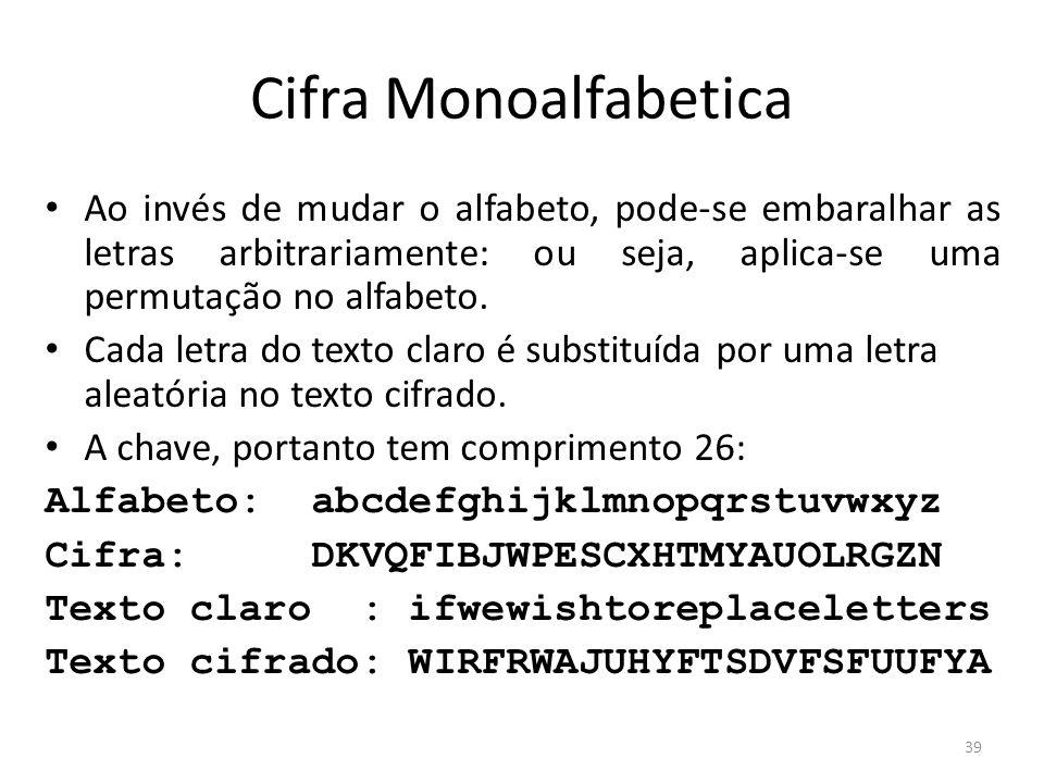 39 Cifra Monoalfabetica Ao invés de mudar o alfabeto, pode-se embaralhar as letras arbitrariamente: ou seja, aplica-se uma permutação no alfabeto. Cad