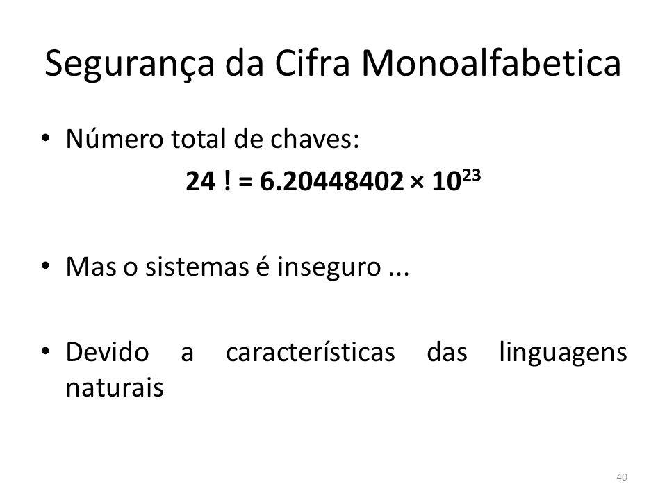 40 Segurança da Cifra Monoalfabetica Número total de chaves: 24 ! = 6.20448402 × 10 23 Mas o sistemas é inseguro... Devido a características das lingu