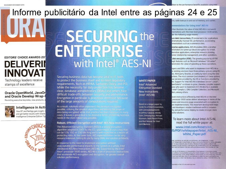 6 Motivação Informe publicitário da Intel entre as páginas 24 e 25