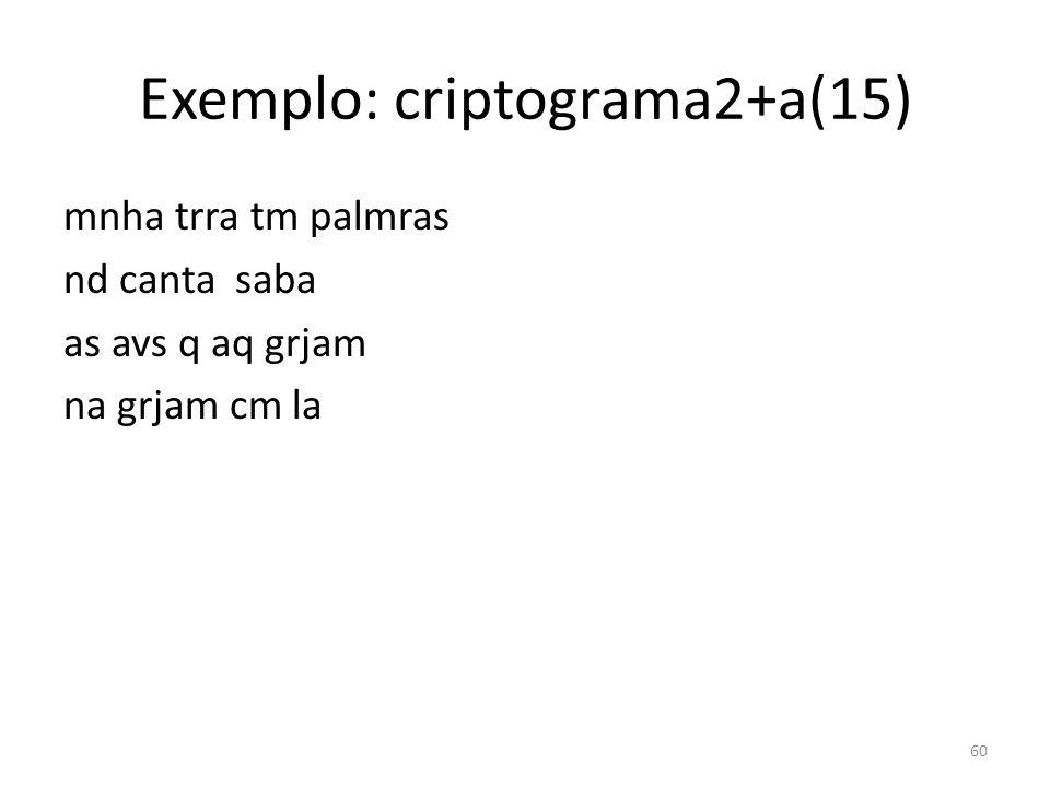 Exemplo: criptograma2+a(15) mnha trra tm palmras nd canta saba as avs q aq grjam na grjam cm la 60