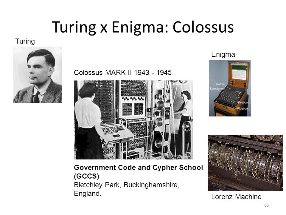 Turing x Enigma: Colossus 66 Turing Colossus MARK II 1943 - 1945 Lorenz Machine Government Code and Cypher School (GCCS) Bletchley Park, Buckinghamshi