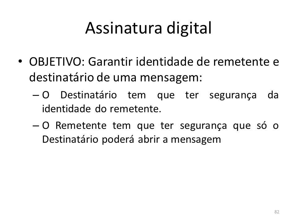 82 Assinatura digital OBJETIVO: Garantir identidade de remetente e destinatário de uma mensagem: – O Destinatário tem que ter segurança da identidade