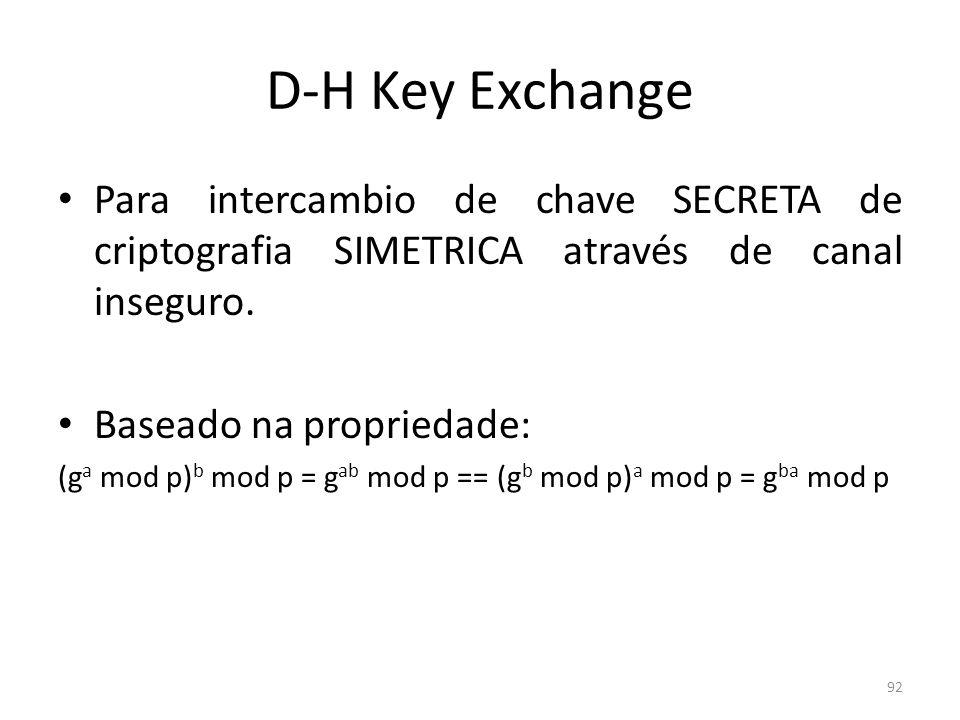 D-H Key Exchange Para intercambio de chave SECRETA de criptografia SIMETRICA através de canal inseguro. Baseado na propriedade: (g a mod p) b mod p =
