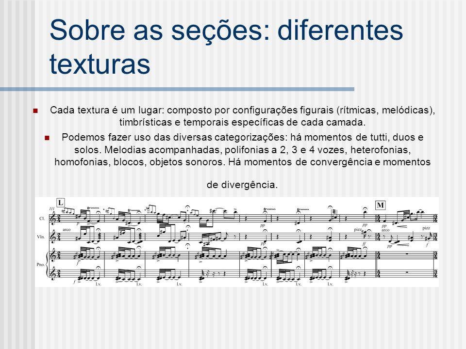 Sobre as seções: diferentes texturas Cada textura é um lugar: composto por configurações figurais (rítmicas, melódicas), timbrísticas e temporais espe
