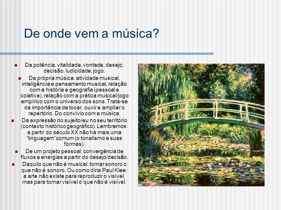 De onde vem a música? Da potência, vitalidade, vontade, desejo, decisão, ludicidade, jogo. Da própria música: atividade musical, inteligência e pensam