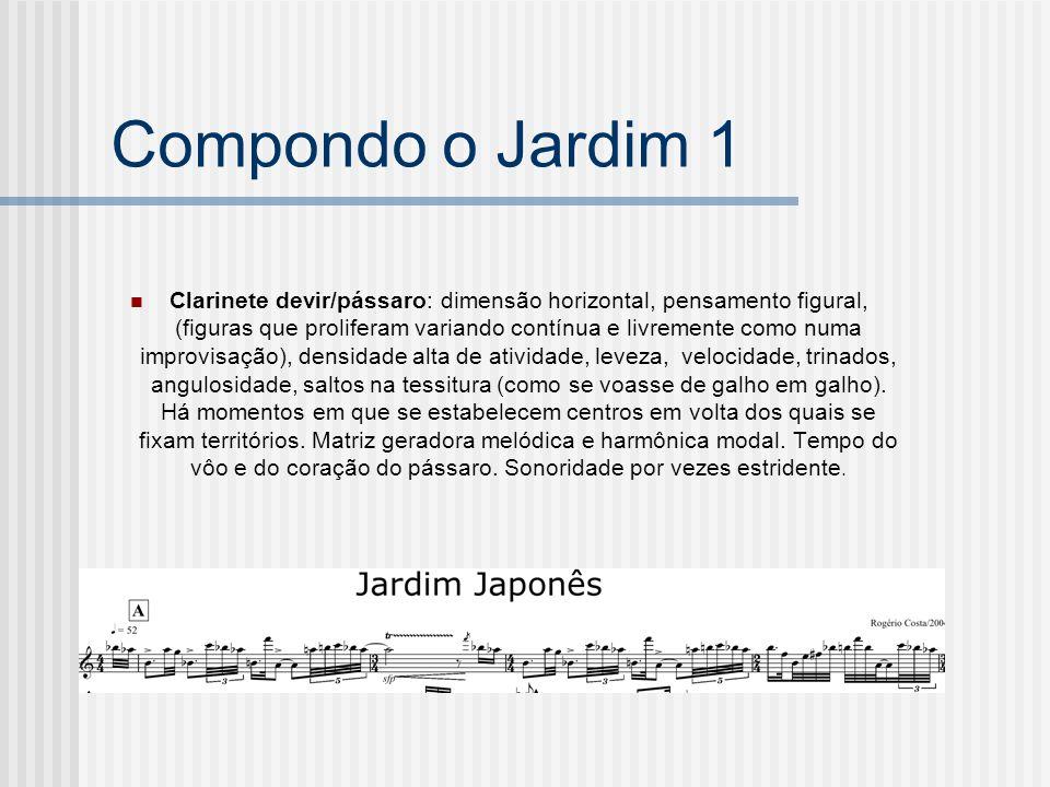 Compondo o Jardim 1 Clarinete devir/pássaro: dimensão horizontal, pensamento figural, (figuras que proliferam variando contínua e livremente como numa