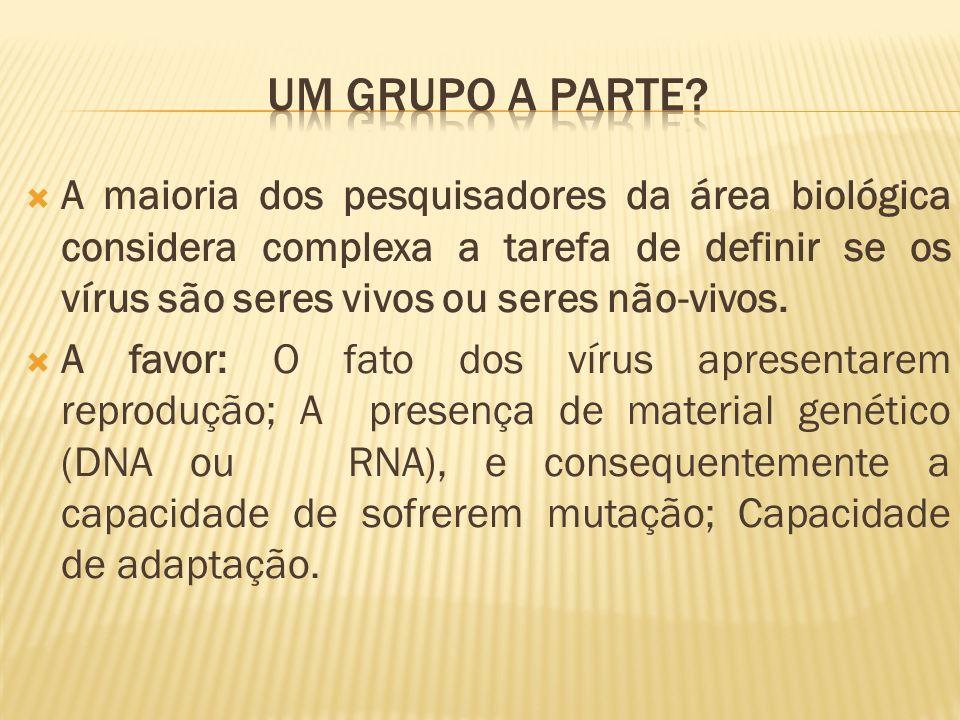 A maioria dos pesquisadores da área biológica considera complexa a tarefa de definir se os vírus são seres vivos ou seres não-vivos. A favor: O fato d