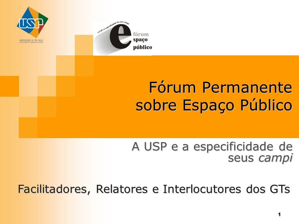 1 Fórum Permanente sobre Espaço Público A USP e a especificidade de seus campi Facilitadores, Relatores e Interlocutores dos GTs