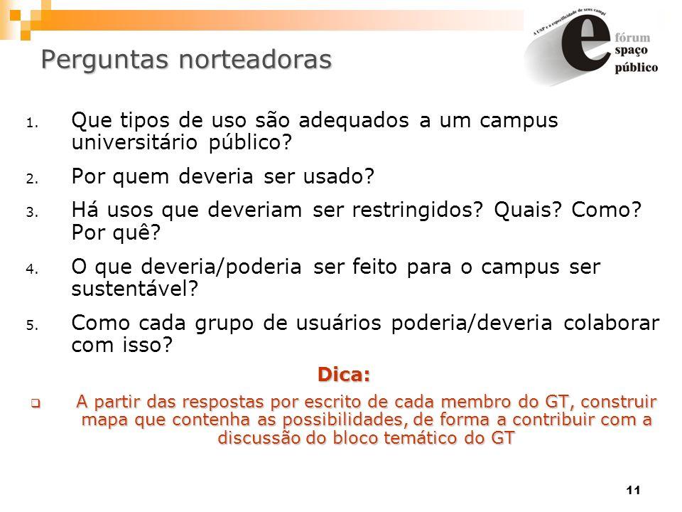 11 Perguntas norteadoras 1. Que tipos de uso são adequados a um campus universitário público? 2. Por quem deveria ser usado? 3. Há usos que deveriam s