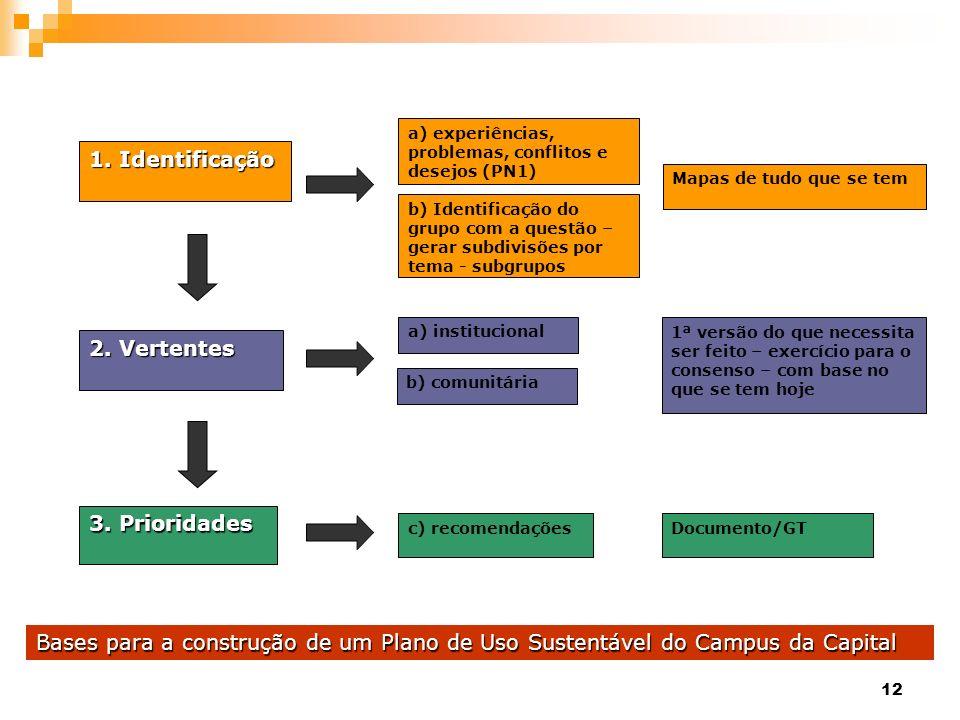 12 1.Identificação 1. Identificação 2. Vertentes 3. Prioridades a) experiências, problemas, conflitos e desejos (PN1) b) Identificação do grupo com a