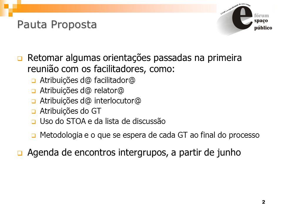 2 PautaProposta Pauta Proposta Retomar algumas orientações passadas na primeira reunião com os facilitadores, como: Atribuições d@ facilitador@ Atribu