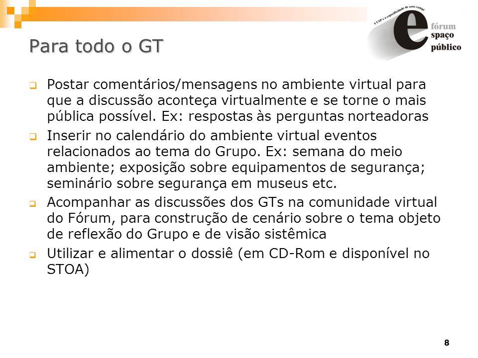 8 Para todo o GT Postar comentários/mensagens no ambiente virtual para que a discussão aconteça virtualmente e se torne o mais pública possível. Ex: r