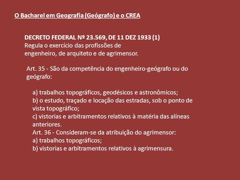 Art. 35 - São da competência do engenheiro-geógrafo ou do geógrafo: a) trabalhos topográficos, geodésicos e astronômicos; b) o estudo, traçado e locaç