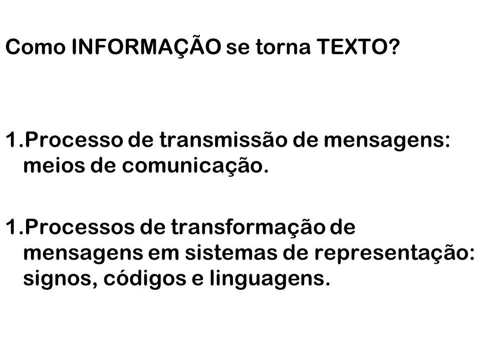 Como INFORMAÇÃO se torna TEXTO? 1.Processo de transmissão de mensagens: meios de comunicação. 1.Processos de transformação de mensagens em sistemas de