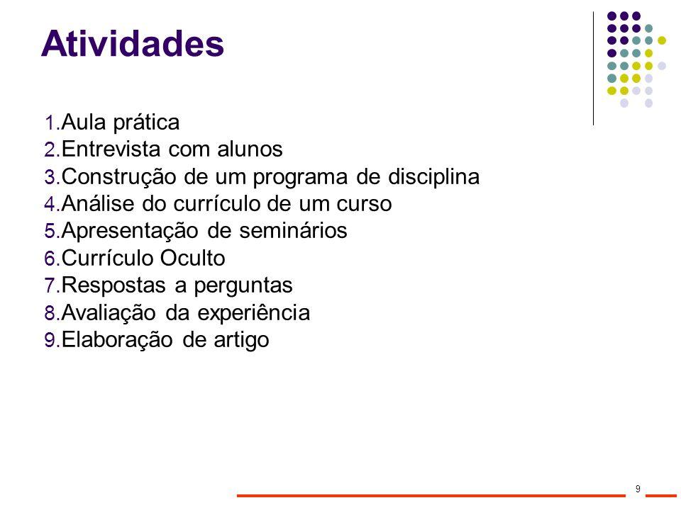 Atividades 1. Aula prática 2. Entrevista com alunos 3. Construção de um programa de disciplina 4. Análise do currículo de um curso 5. Apresentação de