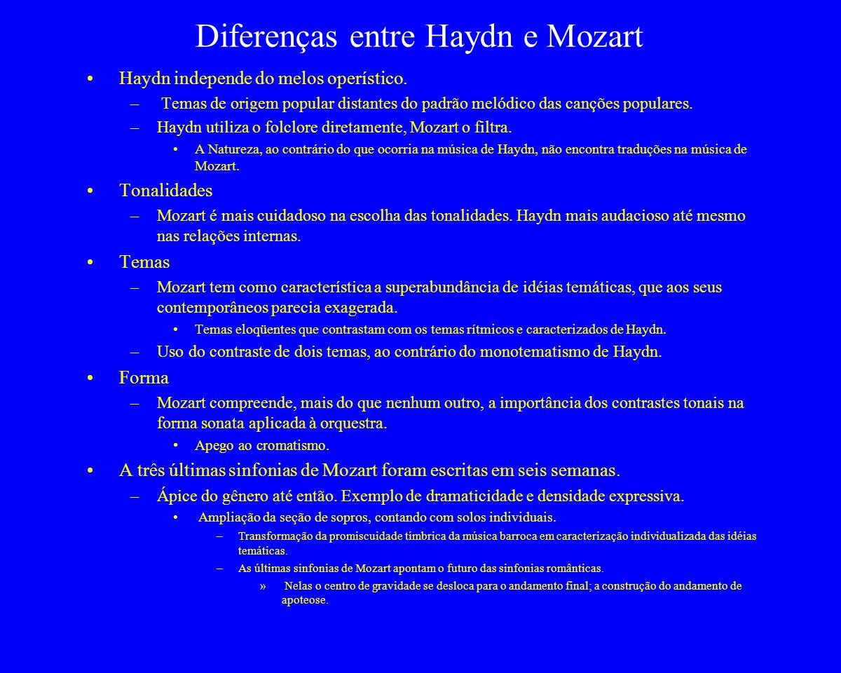 Diferenças entre Haydn e Mozart Haydn independe do melos operístico. – Temas de origem popular distantes do padrão melódico das canções populares. –Ha