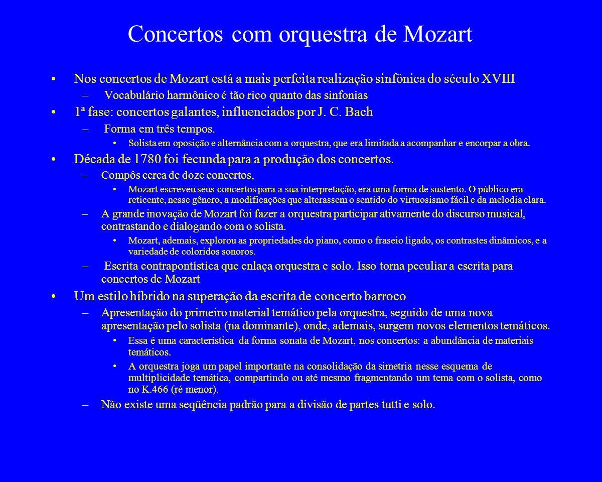 Concertos com orquestra de Mozart Nos concertos de Mozart está a mais perfeita realização sinfônica do século XVIII – Vocabulário harmônico é tão rico
