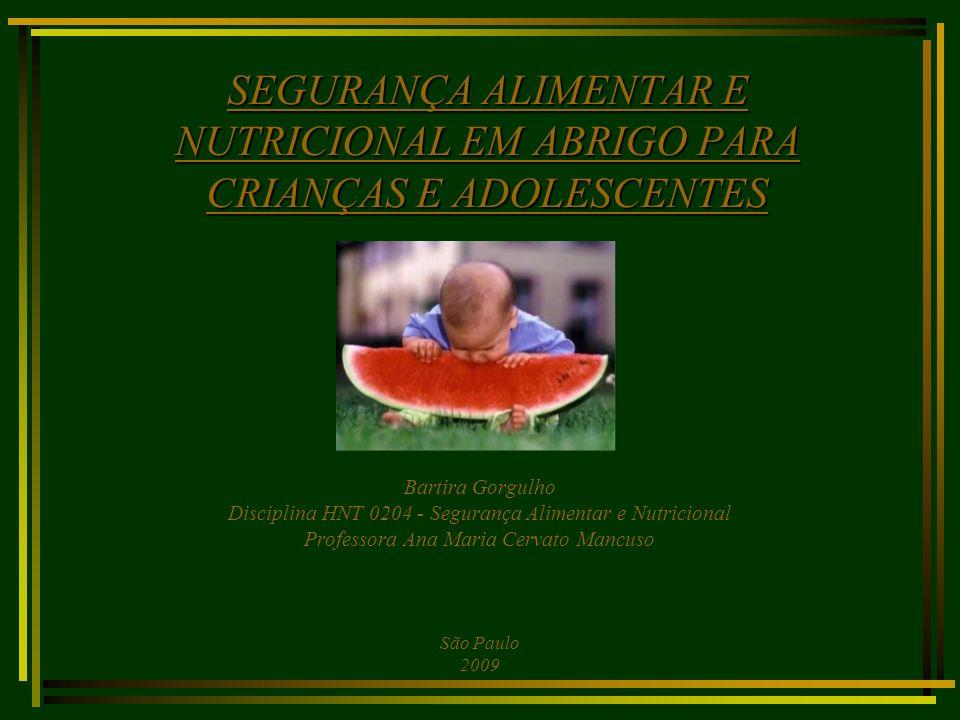 SEGURANÇA ALIMENTAR E NUTRICIONAL EM ABRIGO PARA CRIANÇAS E ADOLESCENTES Bartira Gorgulho Disciplina HNT 0204 - Segurança Alimentar e Nutricional Prof