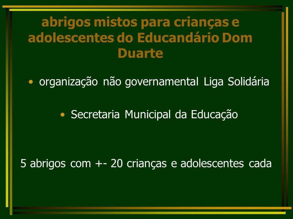 abrigos mistos para crianças e adolescentes do Educandário Dom Duarte organização não governamental Liga Solidária Secretaria Municipal da Educação 5